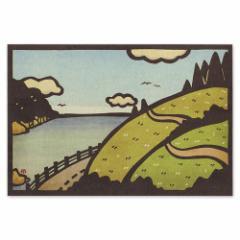 和道楽 切り絵イラストポストカード しろたえ 日本の風景海と丘(1枚)