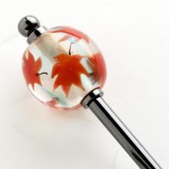 かんざし屋の簪 紅葉とんぼ玉簪 Japanese hairpin, Hair stick