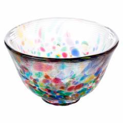 津軽びいどろ 盃・ねぶた流し (F-79469) 猪口 ガラス酒器 青森県の工芸品 Sake glass, Aomori craft