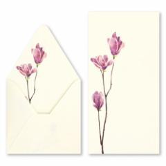 沓掛ろっか 鳥の子贈答箋 木蓮 (RMC-005) 柔らかな風合いの鳥の子紙 和詩倶楽部 Japanese pattern envelope and card set, Kutsukak