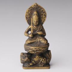 仏像・八体仏 高岡鋳物 文殊菩薩 7cm (BZ-013) 卯年生まれのお守本尊 インテリア鋳造仏 Casting Buddha statue Takaoka imono Monju