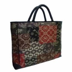 京都 あらいそ 西陣織名物裂 ハンドメイドA4きりばめ裂取バッグ【受注製作:注文から約一ヶ月かかります】