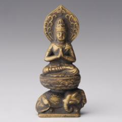 仏像・八体仏 高岡鋳物 普賢菩薩 7cm (BZ-014) 辰・巳年生まれのお守本尊 インテリア鋳造仏 Casting Buddha statue Takaoka imono Fu