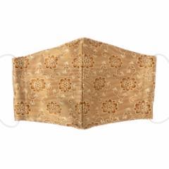 京都 あらいそ 西陣織名物裂 和装マスク023 鉄線唐草文様風通 正絹織物とガーゼを組み合わせた和風スタイルマスク 男女兼用 Kyoto