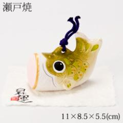 土鈴鯉のぼり 中・緑 (MK851) 瀬戸焼の皐月飾り 端午の節句・五月人形 Setoyaki Satsuki ornament