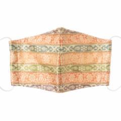 京都 あらいそ 西陣織名物裂 和装マスク025 段文様紹巴 正絹織物とガーゼを組み合わせた和風スタイルマスク 男女兼用 Kyoto nishij