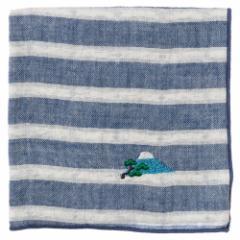 富士山ハンカチ 松(ボーダー) 刺繍入りガーゼハンカチ スーベニール Japanese pattern embroidered gauze handkerchief
