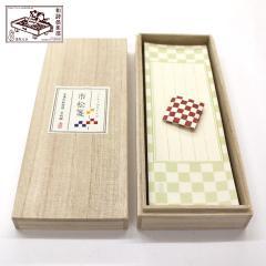 和詩倶楽部 桐箱入り一筆箋 市松箋 100枚入 (KI-006)
