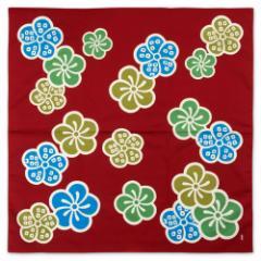 二四巾風呂敷 江戸千代紙いせ辰 大梅 エンジ 90cm幅綿ふろしき Isetatsu Furoshiki, Wrapping cloth