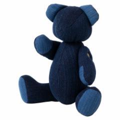 小島屋 藍染めベア・あいくま 剣道着素材の刺子織/ライトブルー×あさぎ 武州正藍染の置物 クマの人形 テディベア 埼玉県の工芸品