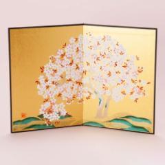 金彩屏風 桜山 (HK777) 置物・お飾り用品 ディスプレイ用 Gold folding screen for figurine