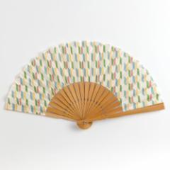 和文様扇子 矢絣 スーベニール Folding fan made of cloth ※在庫限り