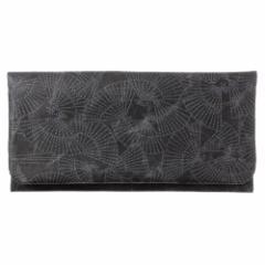 SIWA|紙和 長財布 扇 ブラック×黒 和紋型染めの破れにくい紙・ナオロン製財布 山梨県の工芸品 Durable paper wallet