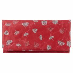 SIWA|紙和 長財布 駒 レッド×浅葱鼠 和紋型染めの破れにくい紙・ナオロン製財布 山梨県の工芸品 Durable paper wallet