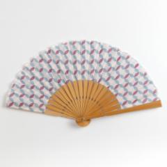 和文様扇子 七宝 スーベニール Folding fan made of cloth ※在庫限り