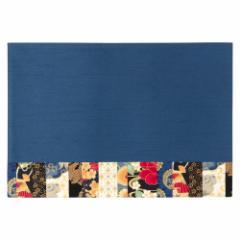 百道発信 華神楽 ランチョンマット ブルー (IKI-1479) 45×31cm 福岡県の布製品 Fabric place mat, Fukuoka craft