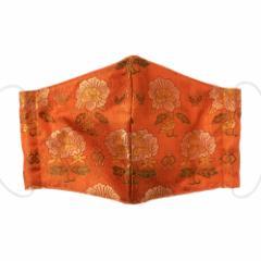 京都 あらいそ 西陣織名物裂 和装マスク034 宝尽し牡丹紋 正絹織物とガーゼを組み合わせた和風スタイルマスク 男女兼用 Kyoto nish