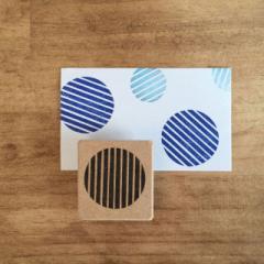 使いやすい丸型和柄はんこ ストライプ 消しゴムはんこ ただのやまもと Japanese pattern hanko stamp