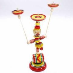 ピエロの曲芸独楽回し。 ぴえろさーかす 独楽3個 山形県の木地玩具