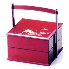 5.5手提二段重箱 雲錦流水 朱 漆塗り重箱 (G7-14003)