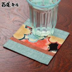 百道発信 花色コースター 水色 (IKI-1417) リバーシブル 福岡県の布製品 Fabric coaster