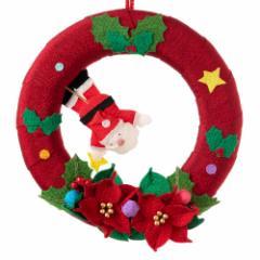 京都夢み屋 季節のリース 12月 クリスマス (IR-12) 季節のちりめん掛け飾り スタンド付き Seasonal decoration of crepe fabric