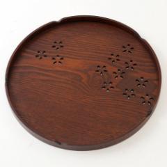 丸盆 木製漆塗りのお盆 桜花模様 Wooden tray