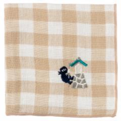 忍者ハンカチ 壁登りの術(チェック) 刺繍入りガーゼハンカチ スーベニール Japanese pattern embroidered gauze handkerchief