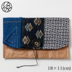 くるくる留めの小物入れ 004 米袋封筒のちほど Accessory case made of rice bag