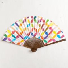 【扇子】傾奇扇 彩り七宝おとし色 (SA-001) 和紙の扇子7寸5分 和詩倶楽部 Sensu fan, Washi-club