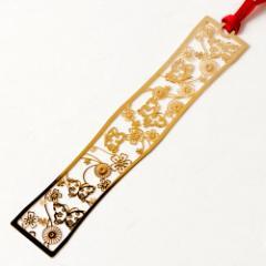 和柄ブックマーカー 花蝶々 (WAG002) 金の栞シリーズ 24K表面加工 金属製ブックマーカー Metal bookmark, Japanese pattern