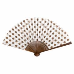 【扇子】傾奇扇 黒鳶水玉文 (SA-002) 和紙の扇子7寸5分 和詩倶楽部 Sensu fan, Washi-club