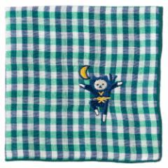 NYANJA 刺繍ハンカチ 三日月 ずっとこっちみてる猫の忍者 スーベニール Embroidered gauze handkerchief