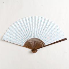 【扇子】傾奇扇 麻の葉天色文 (SA-004) 和紙の扇子7寸5分 和詩倶楽部 Sensu fan, Washi-club