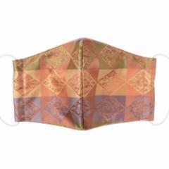 京都 あらいそ 西陣織名物裂 和装マスク043 菱石畳花文緞子 正絹織物とガーゼを組み合わせた和風スタイルマスク 男女兼用 Kyoto ni