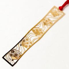 和柄ブックマーカー 舞扇 (WAG005) 金の栞シリーズ 24K表面加工 金属製ブックマーカー Metal bookmark, Japanese pattern