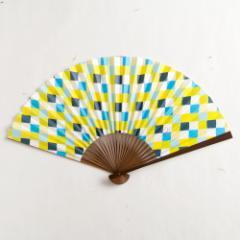 【扇子】傾奇扇 彩り市松蒼文 (SA-005) 和紙の扇子7寸5分 和詩倶楽部 Sensu fan, Washi-club