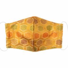 京都 あらいそ 西陣織名物裂 和装マスク045 亀甲づくし 正絹織物とガーゼを組み合わせた和風スタイルマスク 男女兼用 Kyoto nishij