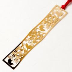 和柄ブックマーカー 梅小鳥 (WAG007) 金の栞シリーズ 24K表面加工 金属製ブックマーカー Metal bookmark, Japanese pattern