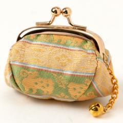京都 あらいそ 西陣織名物裂 小銭入れ・鈴付き189 がま口 鹿羊紋 Kyoto nishijin, Coin purse