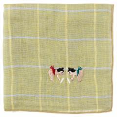 相撲ハンカチ はっけよい(チェック) 刺繍入りガーゼハンカチ スーベニール Japanese pattern embroidered gauze handkerchief