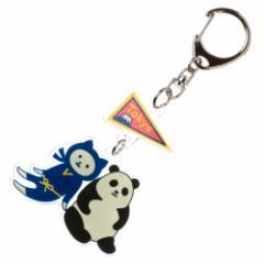 NYANJA キーホルダー東京 パンダ ずっとこっちみてる猫の忍者 スーベニール Key ring
