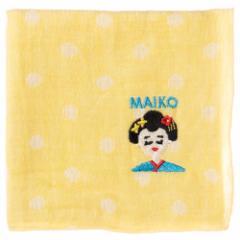 ジャパニーズハンカチ MAIKO・舞妓 刺繍入りガーゼハンカチ スーベニール Japanese pattern embroidered gauze handkerchief