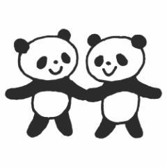 もりのはんこやさん なかよしパンダ (1662-014) ラバースタンプ こどものかお Rubber stamp