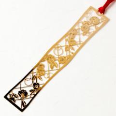 和柄ブックマーカー 咲き椿 (WAG010) 金の栞シリーズ 24K表面加工 金属製ブックマーカー Metal bookmark, Japanese pattern