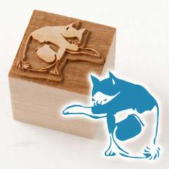 京からかみ 木版ミニスタンプ 添文 猫文B 京都府の工芸品 Karakami woodblock stamp