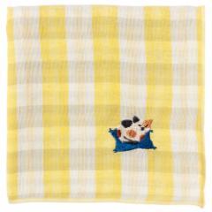 にゃんこハンカチ 三毛猫(チェック) 刺繍入りガーゼハンカチ スーベニール Cat pattern embroidered gauze handkerchief