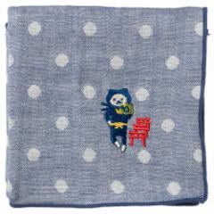NYANJA 刺繍ハンカチ京都 鳥居 ずっとこっちみてる猫の忍者 スーベニール Embroidered gauze handkerchief