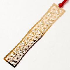 和柄ブックマーカー 麻の葉とんぼ (WAG011) 金の栞シリーズ 24K表面加工 金属製ブックマーカー Metal bookmark, Japanese pattern