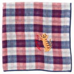 にゃんこハンカチ とら猫(チェック) 刺繍入りガーゼハンカチ スーベニール Cat pattern embroidered gauze handkerchief